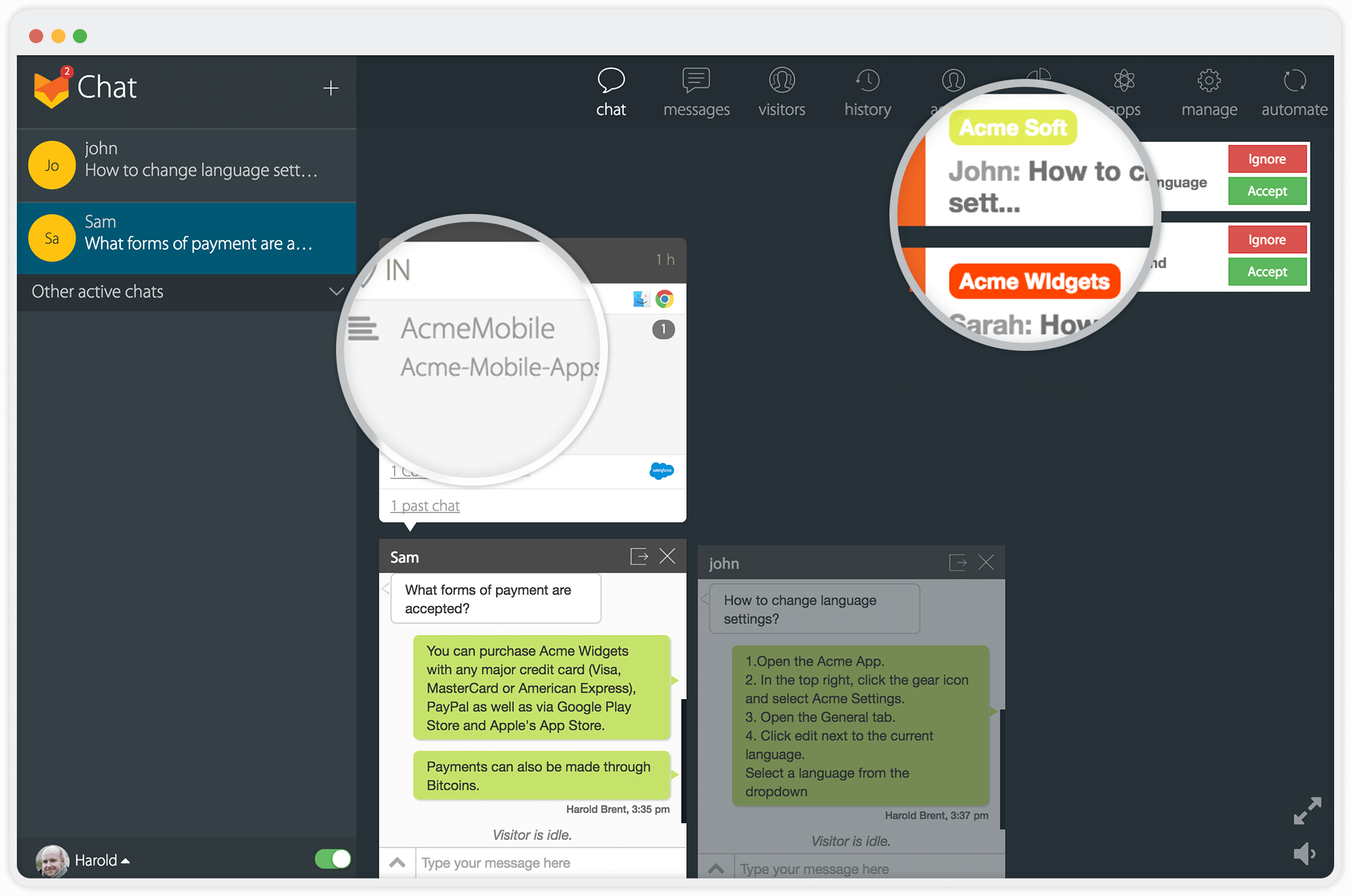 Multi-website live chat support