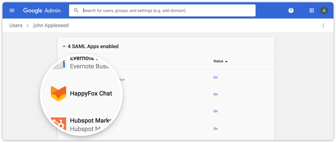 Automatically add and remove agents in HappyFox chat from a centrally managed Gsuite account
