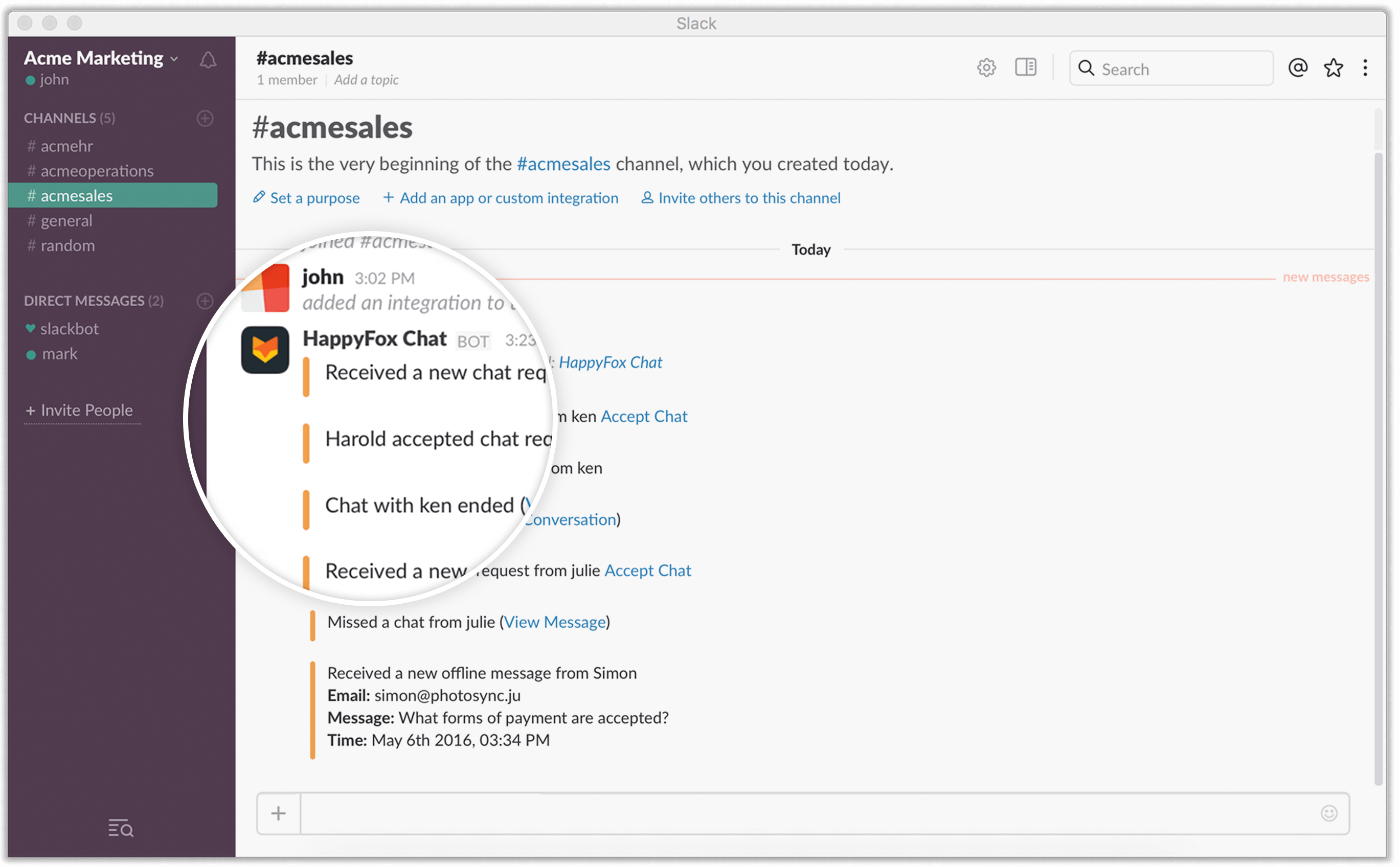 Stay up-to-date on customer support on your slack channel