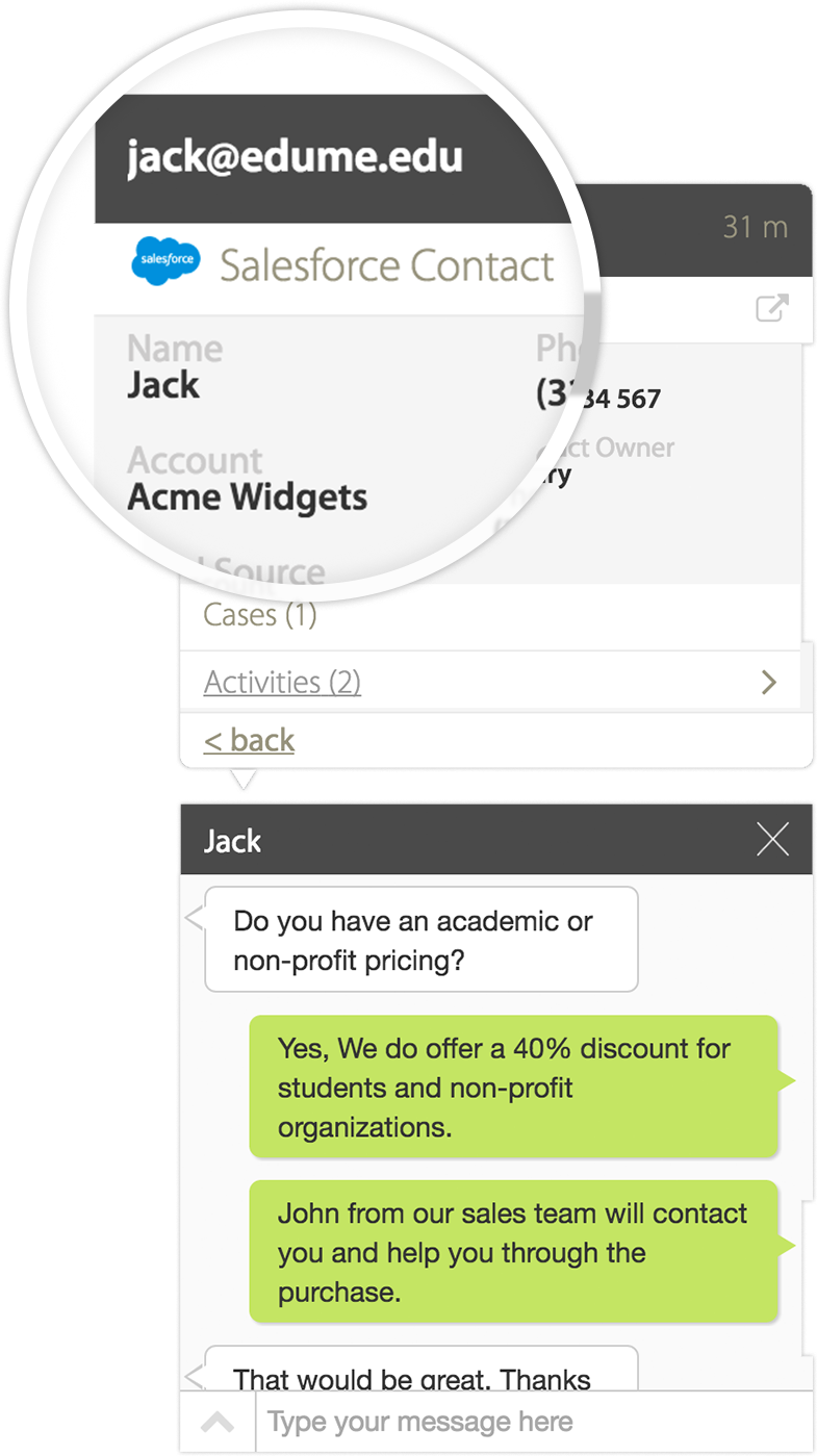 View all help desk tickets while you chat with your customer