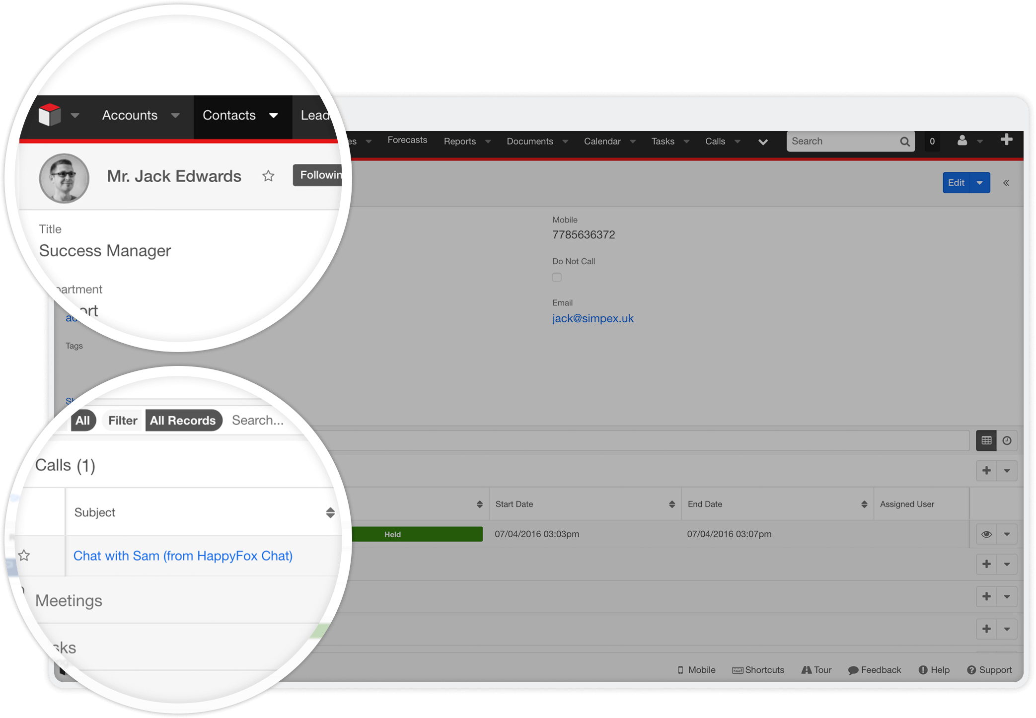 Automatically add contacts or leads in SugarCRM