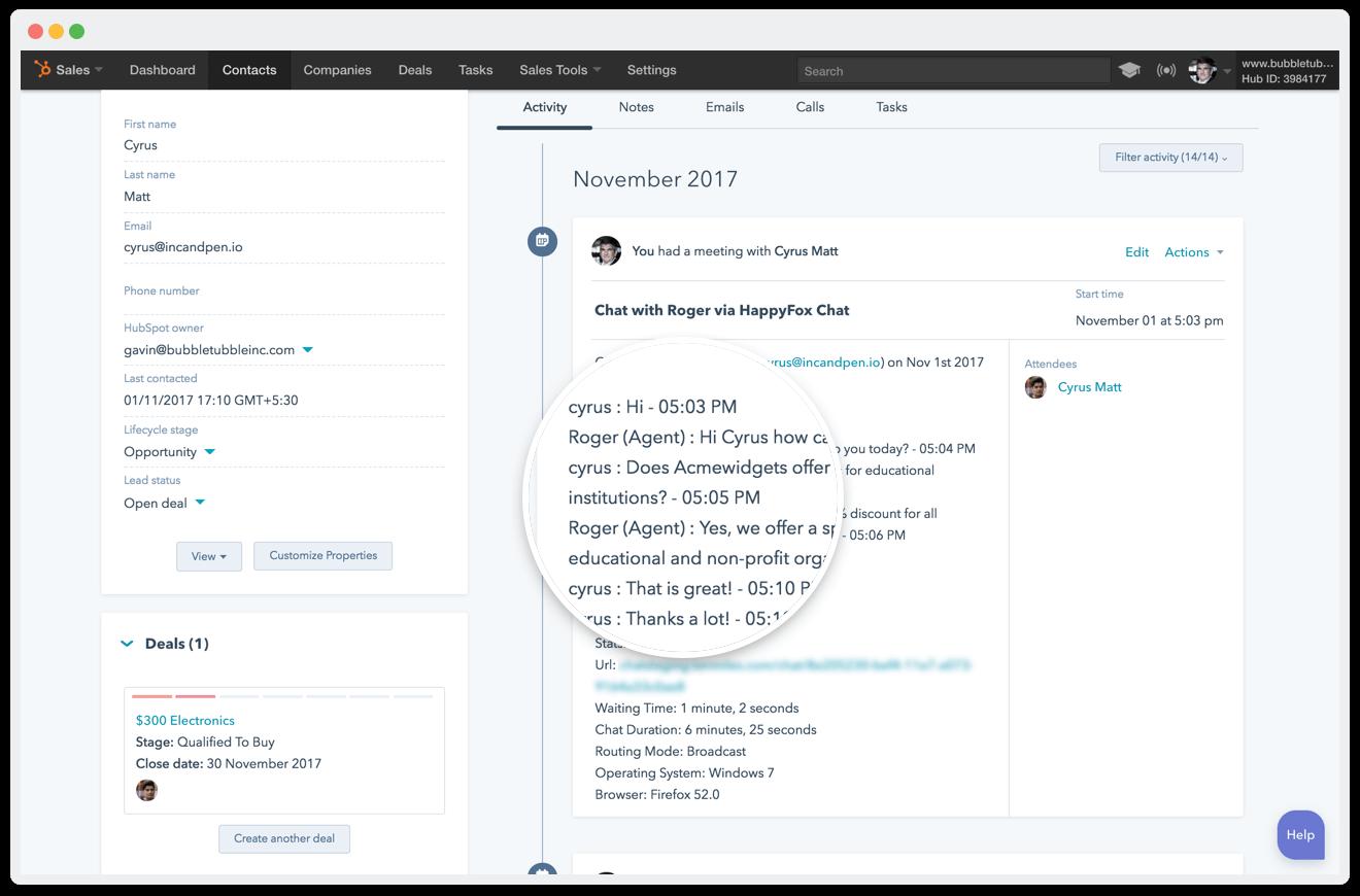 Hubspot chat transcript