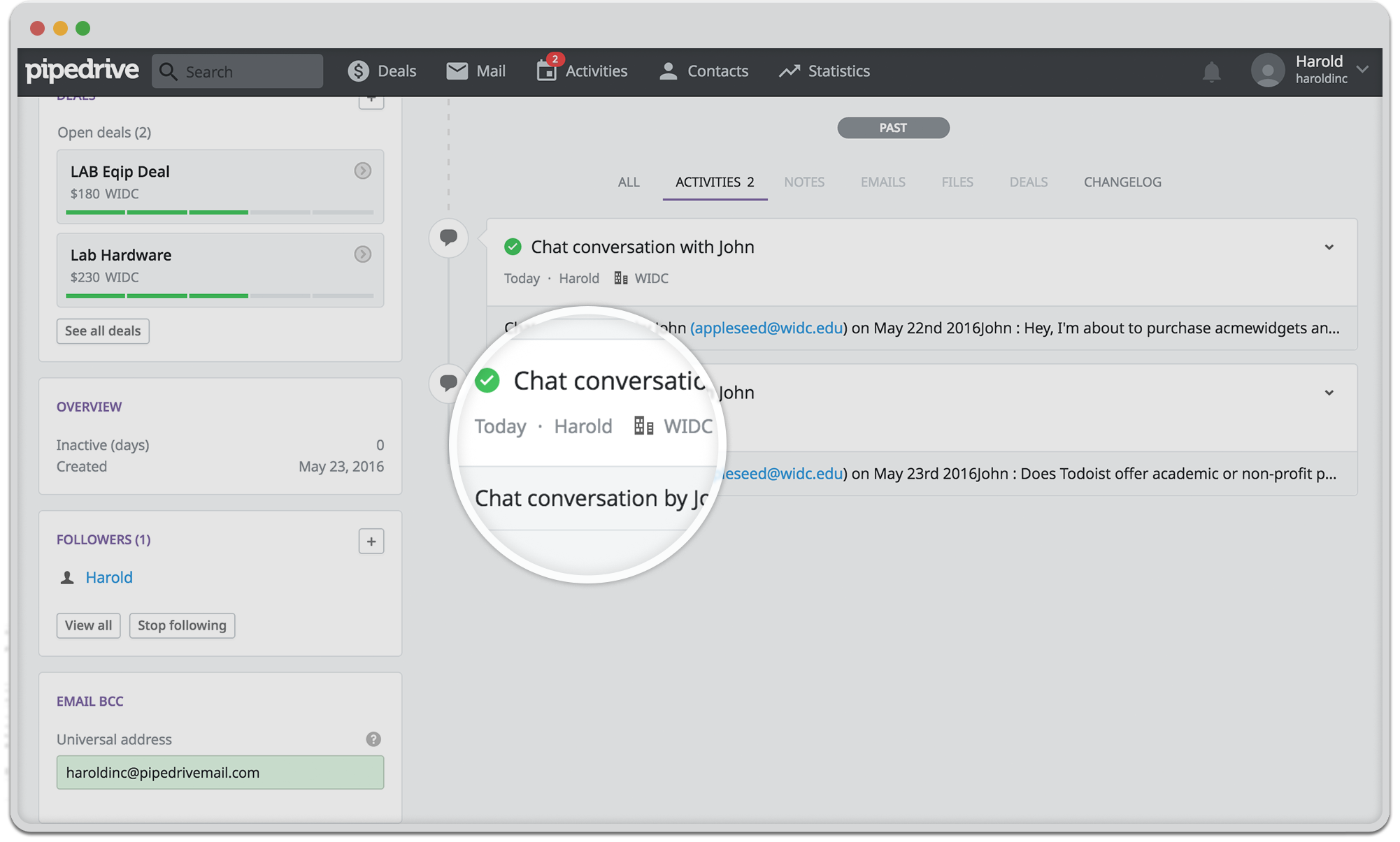 Live chats as Pipedrive activity