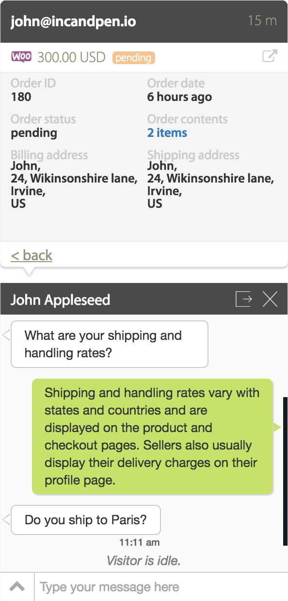 Get WooCommerce order details on HappyFox Chat