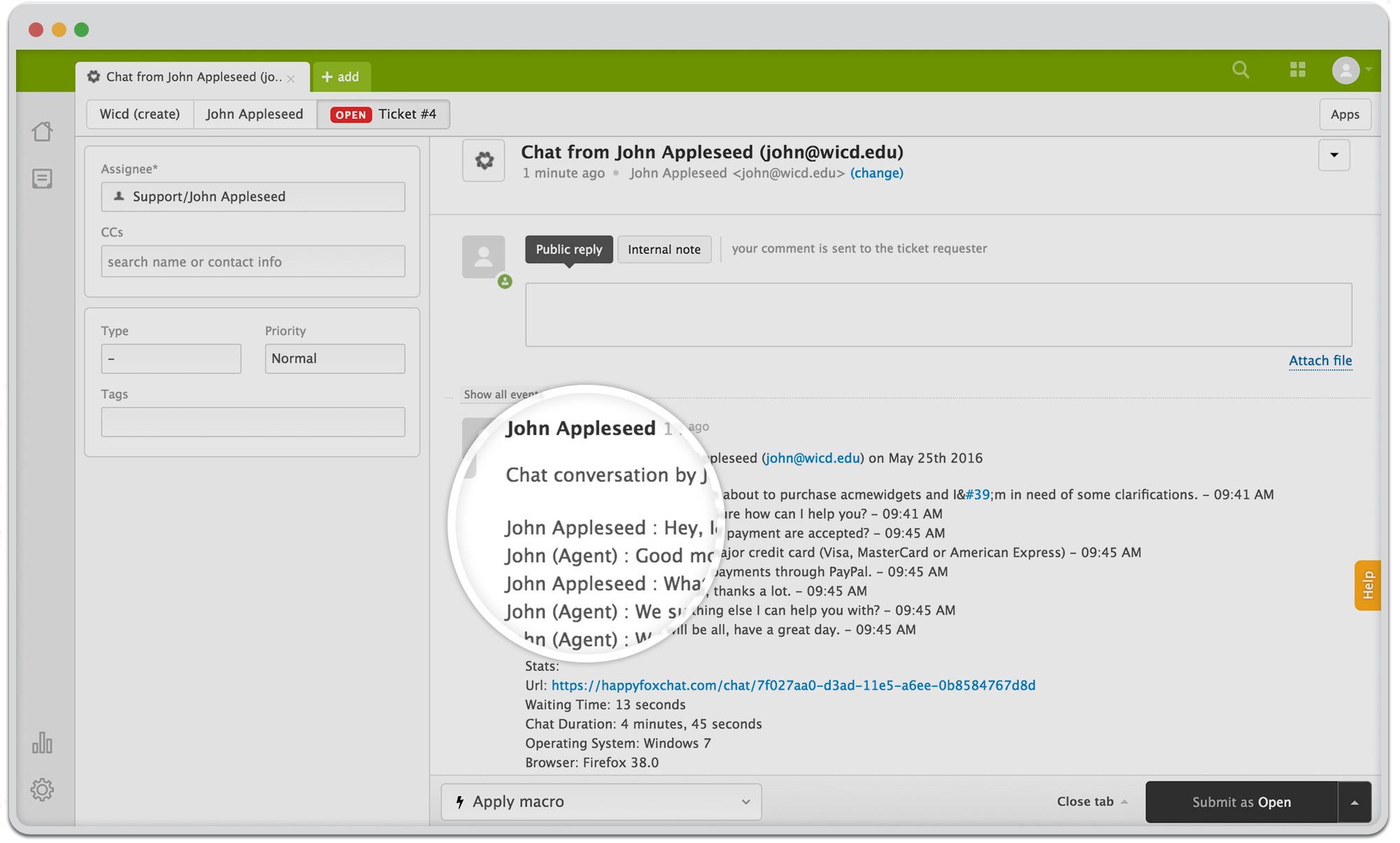 Record live chat conversations as transcripts with Zendesk