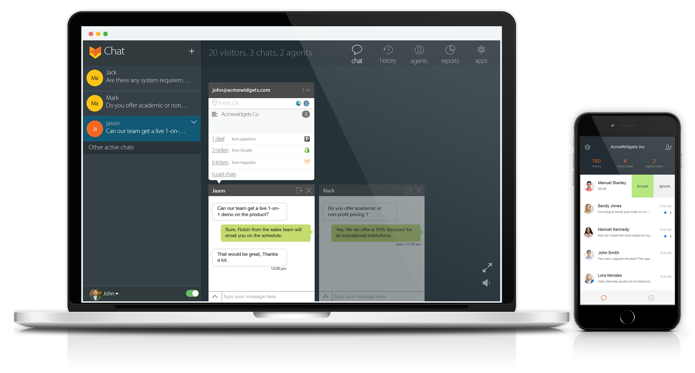 Live chat app for mac, iPhone and android