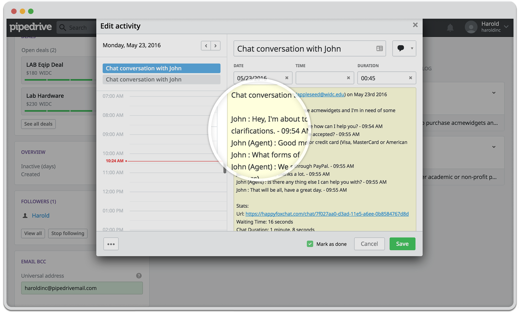 Live chat transcripts in Pipedrive CRM