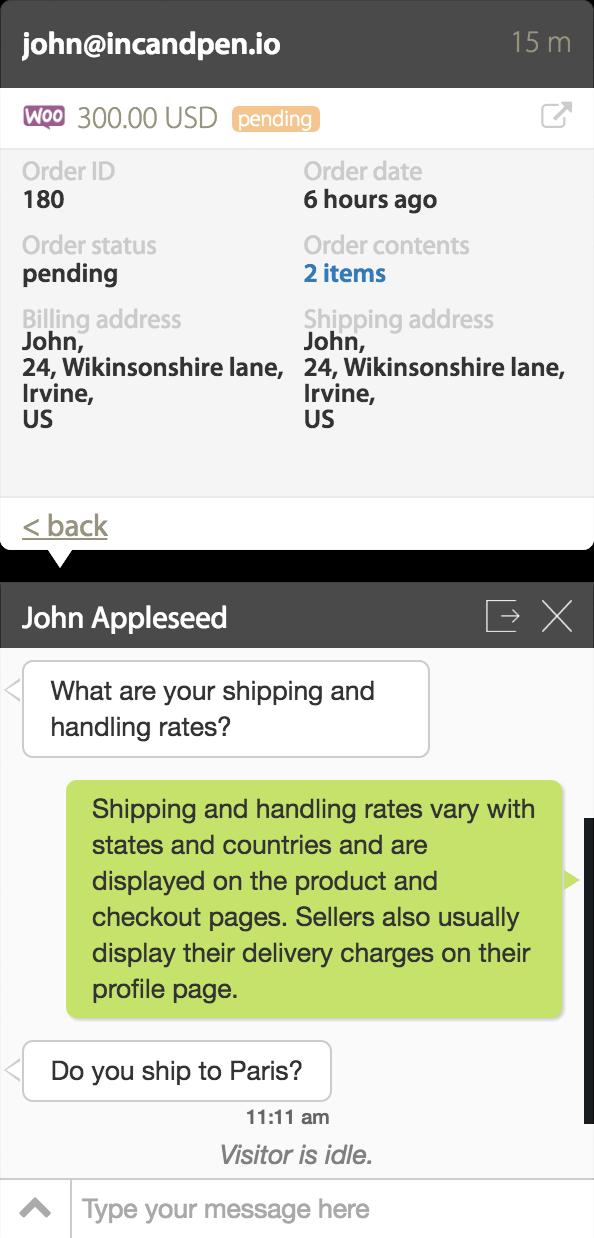 Get WooCommerce order details on HappyFox Chat